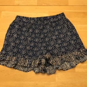 Adorable Navy Blue Floral Ruffled Hem Shorts - NEW